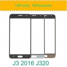 10 pçs/lote para samsung galaxy j3 2016 j320 j320f j320m j320y j320fn tela de toque painel frontal lente vidro exterior lcd substituir